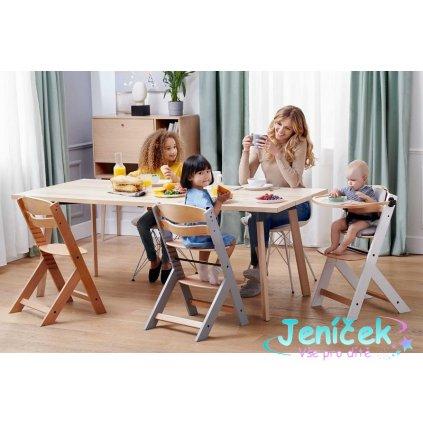 KINDERKRAFT Židlička jídelní Enock Grey wooden VYP