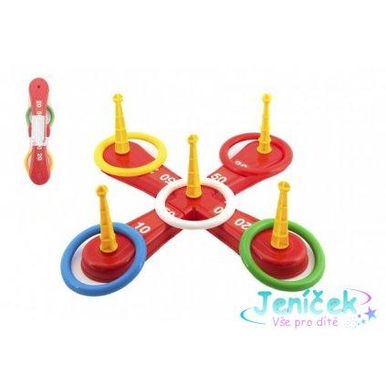Házecí hra plast kříž s kruhy v síťce 46x12x8cm V