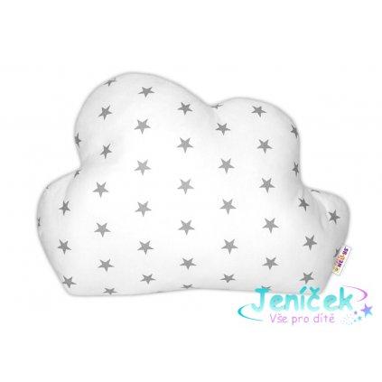 Baby Nellys Mráček - dekorační polštářek - Mini hvězdičky šedé v bílé VYP