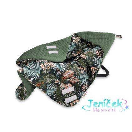 Baby Nellys Oteplená zavinovací deka s kapucí Velvet, 90 x 90 cm, Papoušek - zelená