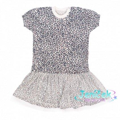 Mamatti Kojenecké šaty s týlem, kr. rukáv, Gepardík, bílé se vzorem, 68 VYP
