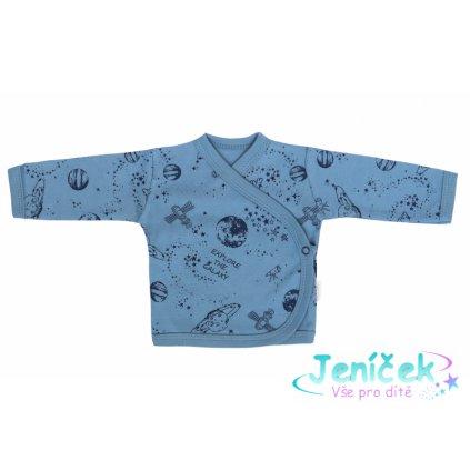 Mamatti Novorozenecká bavlněná košilka zapínání bokem, Vesmír - modrá s potiskem 62 VYP