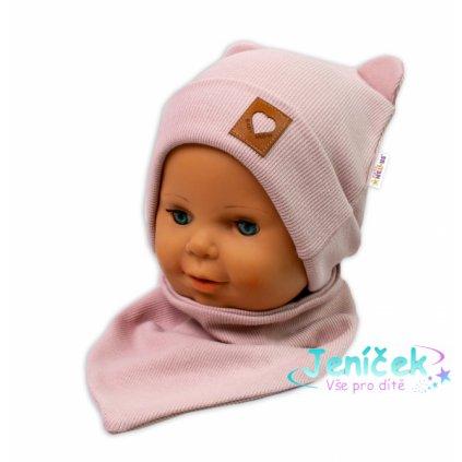 Baby Nellys Žebrovaná dvouvrstvá čepice s oušky + šátek TEDDY - pudrová VYP