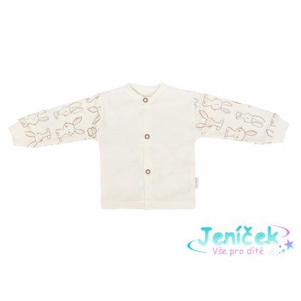 Mamatti Novozenecká bavlněná košilka, kabátek, Králíček - krémová s potiskem 50 vyp