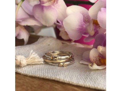 Gold & silver stacker ring
