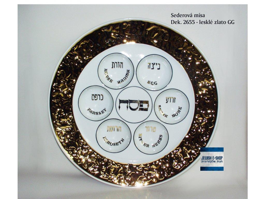 Seder - Sederová porcelánová mísa zdobená zlatem lesklá