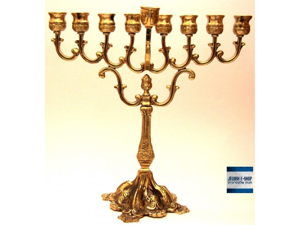 Nádherná zdobená Chanukije ve zlaté barvě 26cm