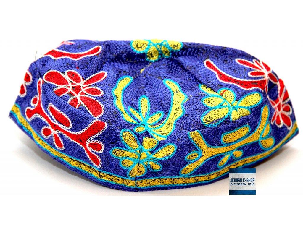 Extra velká jarmulka - kippa s barevným vzorem