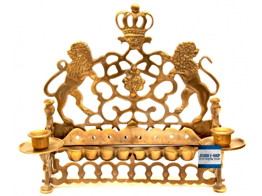 Luxusní královský desetiramenný židovský svícen - Chanukije se Lvy