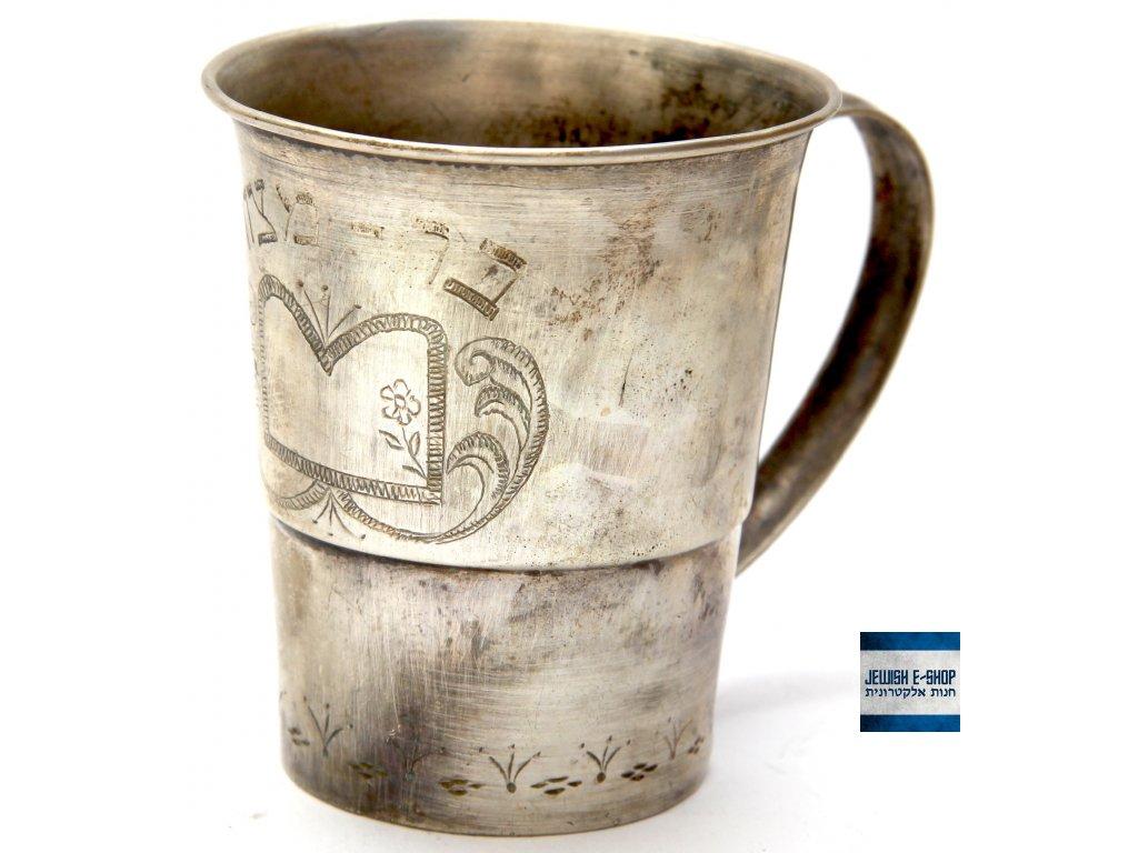 Stříbrný Kidušový pohárek 835/1000 - 8 cm - 1940 Palestina