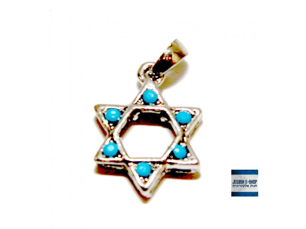 Přívěsek Davidova hvězda - tyrkysová - JEWISH E-SHOP 282e654a0d
