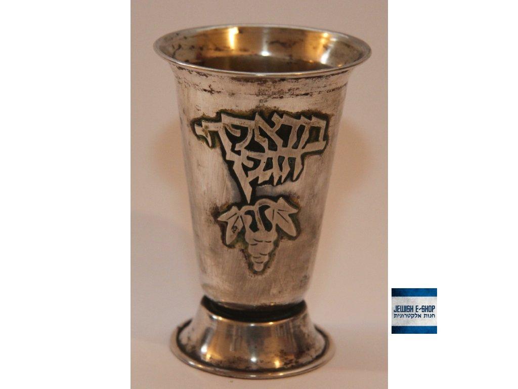 Stříbrný kidušový pohárek z Izraele Ag 800/1000 - starý 8,5 cm
