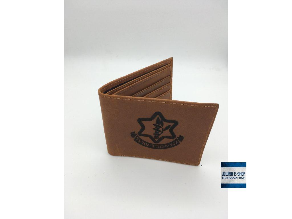 Světle hnědá kožená peneženka IDF - znak Israel Defense Forces