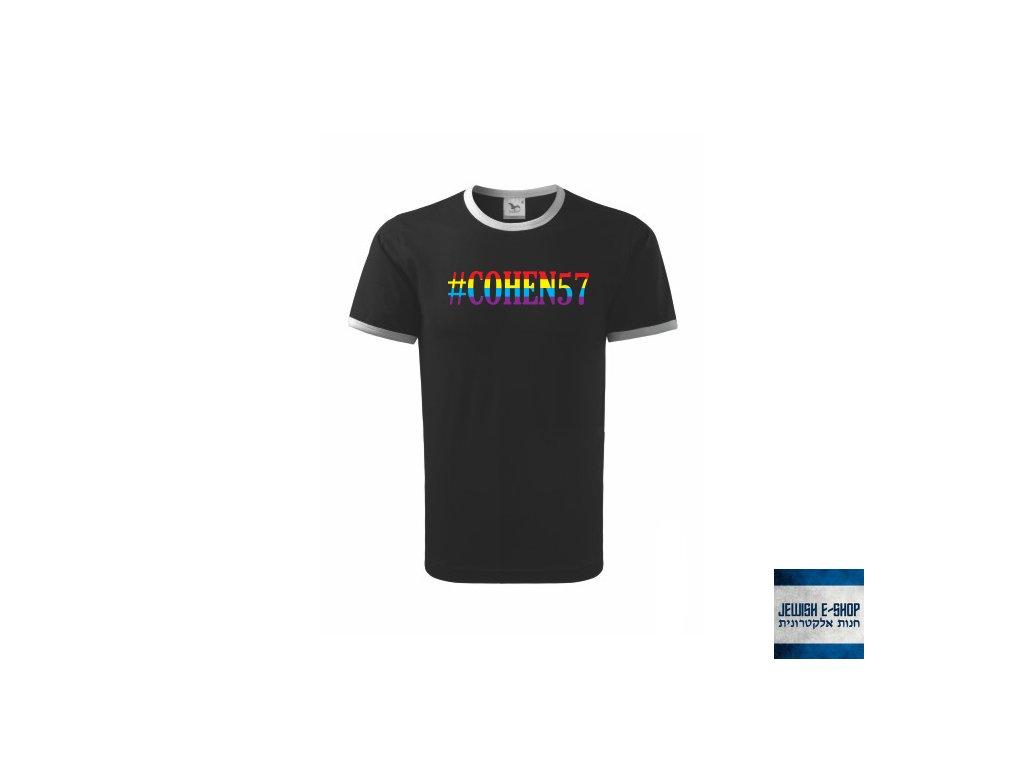 Tričko - Kohen černé (duha) - #COHEN57