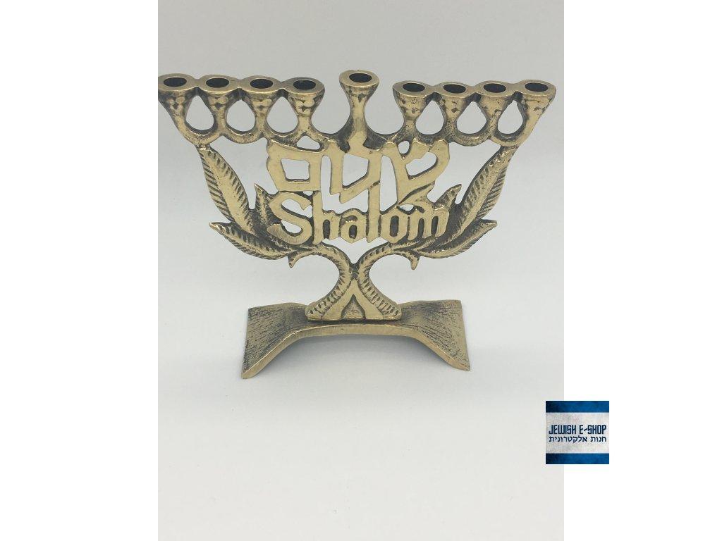 Židovský svícen SHALOM - Nejlevnější mosazná Chanukija