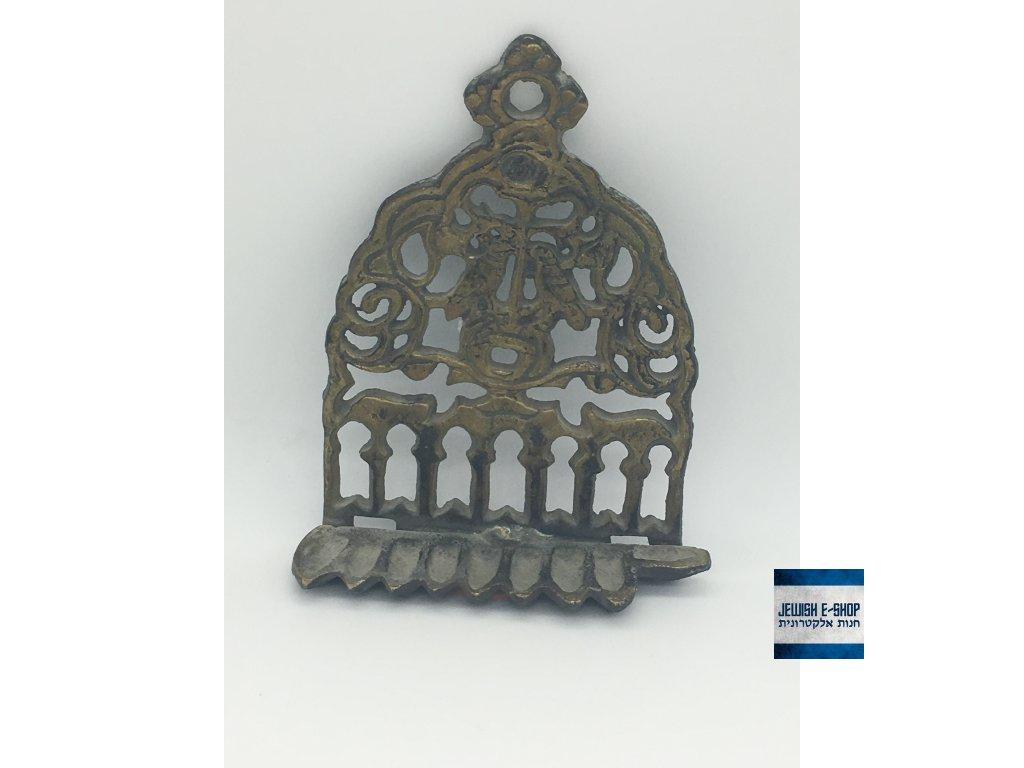 Židovský svícen - Chanukija na olej - starý z Izraele 14 cm