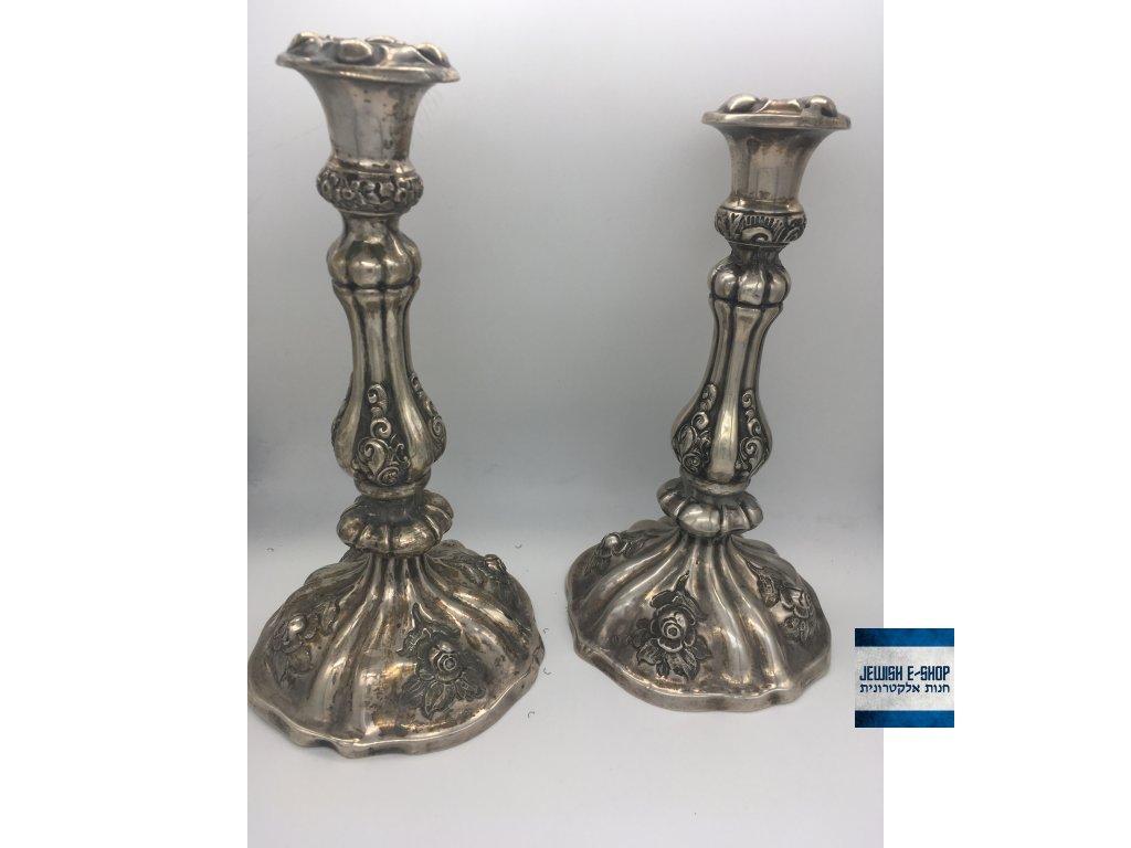 Šábesové svícny stříbrné 800/1000 - 26 cm vysoké, stáří cca 1850 - Rakouské císařství