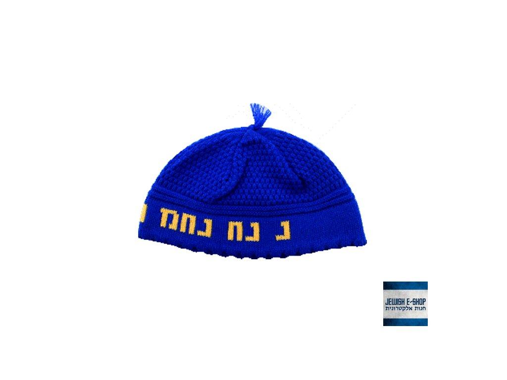 RABI NACHMAN - světle modrá háčkovaná jarmulka - kippa