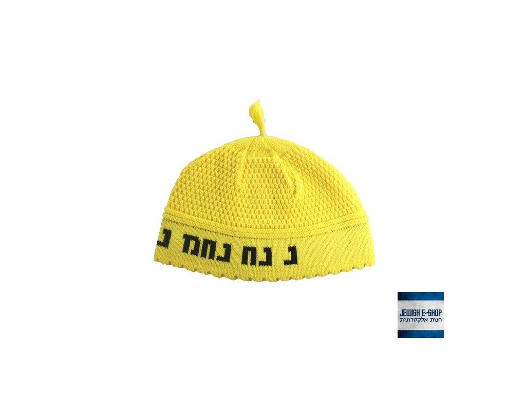 RABI NACHMAN - žlutá háčkovaná jarmulka - kippa