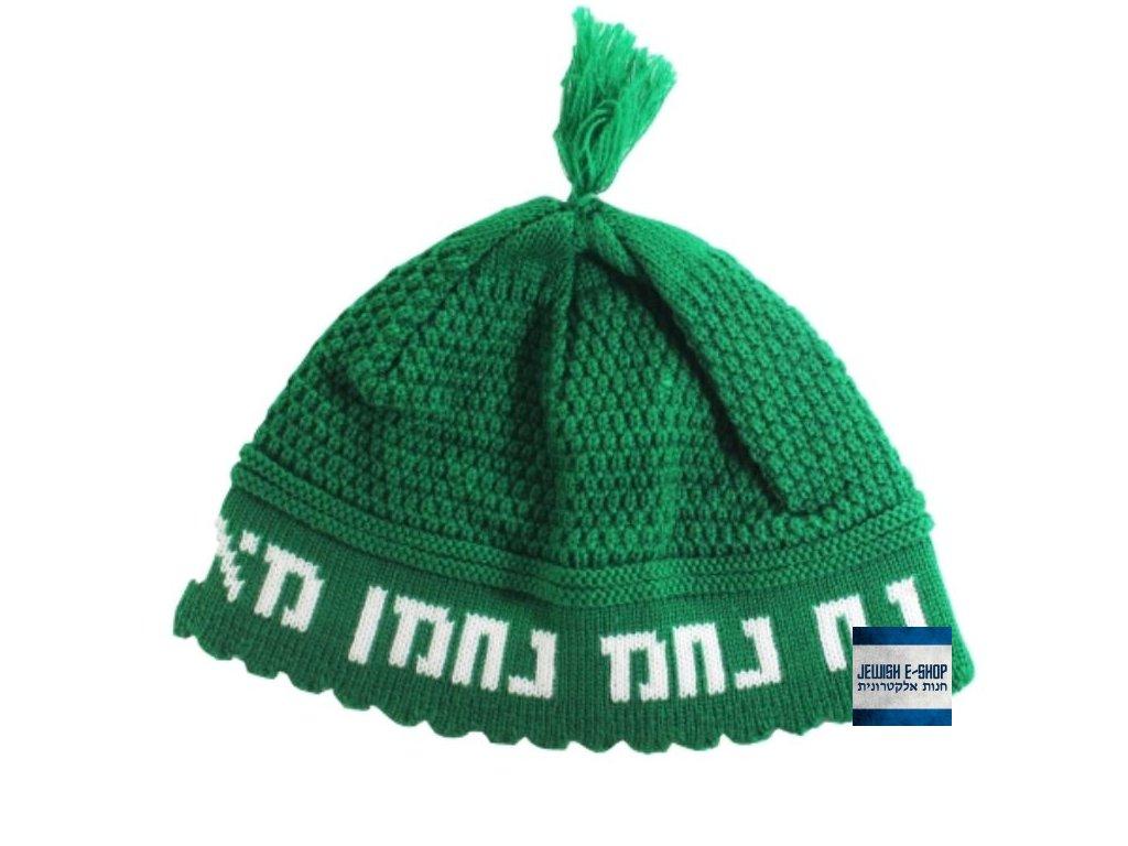 RABI NACHMAN - zelená háčkovaná jarmulka - kippa