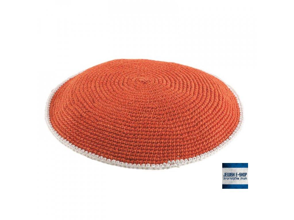 Háčkovaná kippa - jarmulka 13 cm, oranžová s bílým lemem