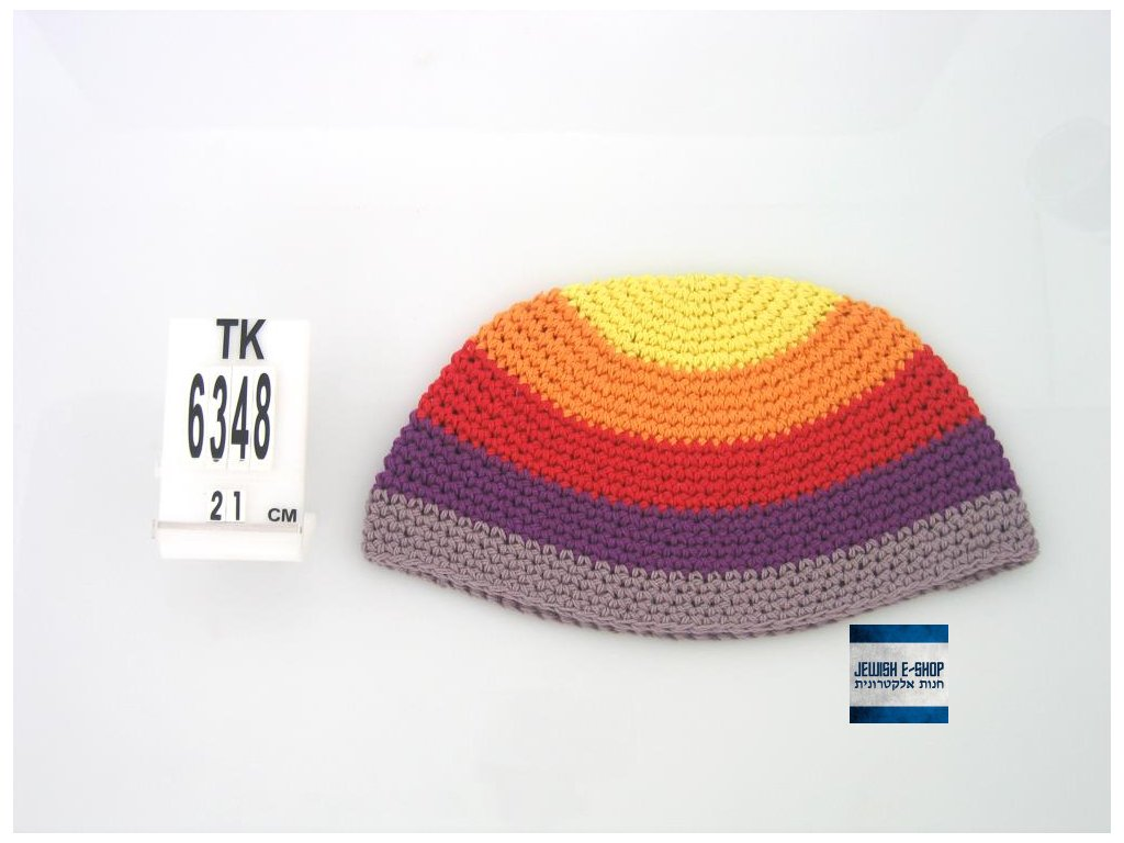 """Frik"" kippa - jarmulka 21 cm, 5 barevných pruhů"