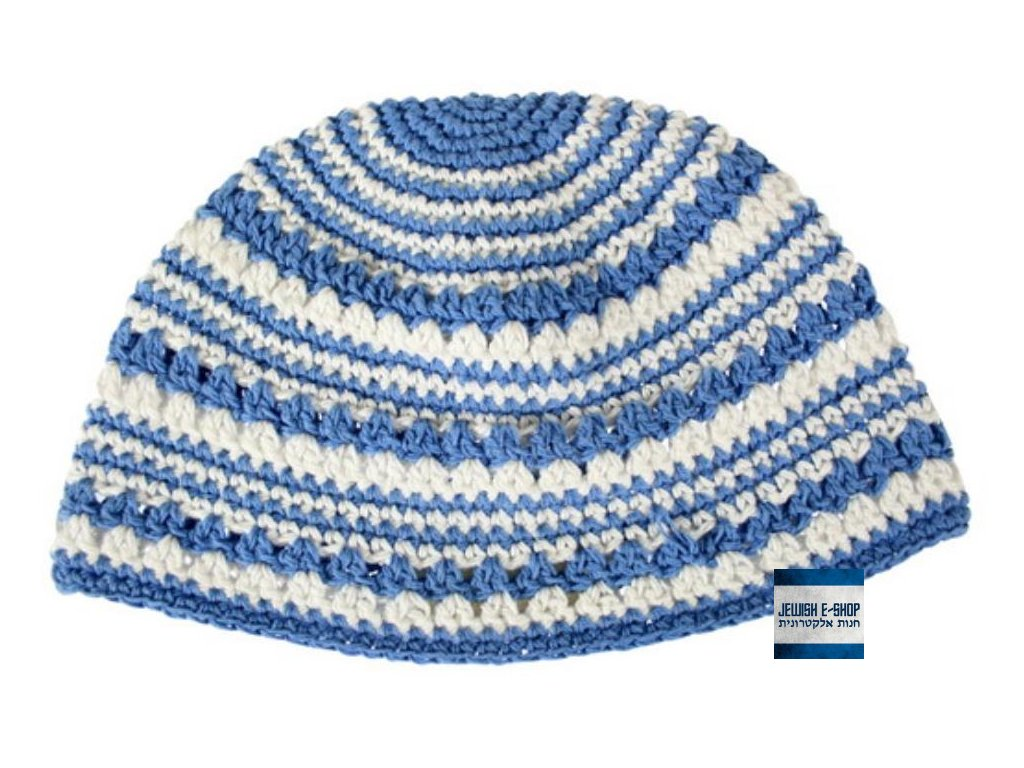 """Frik"" kippa - jarmulka 22 cm, světle modrá variace"