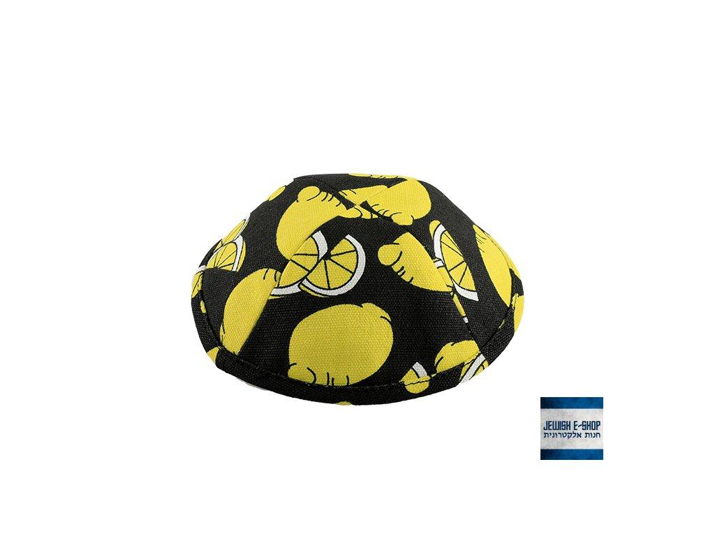 Kippa - jarmulka černá s citronky, 19 cm