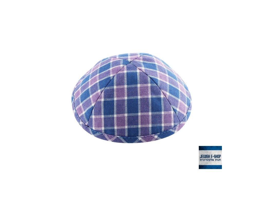Kostkovaná kippa - jarmulka modro-fialová, různé velikosti
