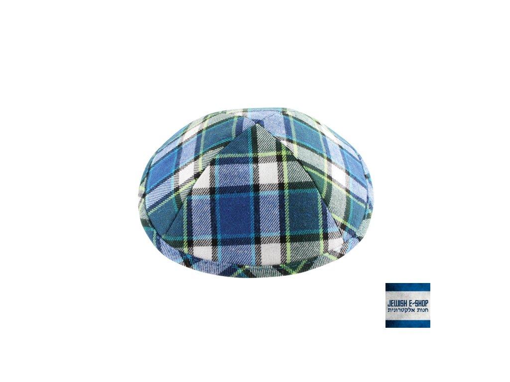 Kostkovaná kippa - jarmulka tmavě modrá, 17 cm