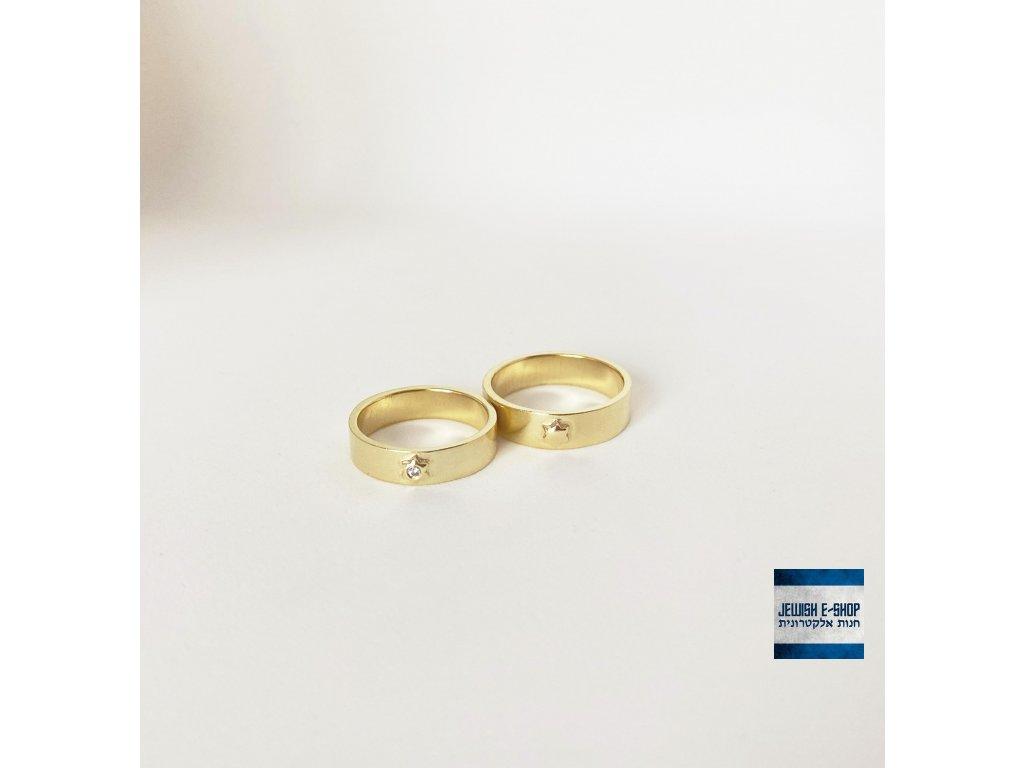 Žluté zlato a zirkon - prsten dámský s Davidovou hvězdou a kamenem