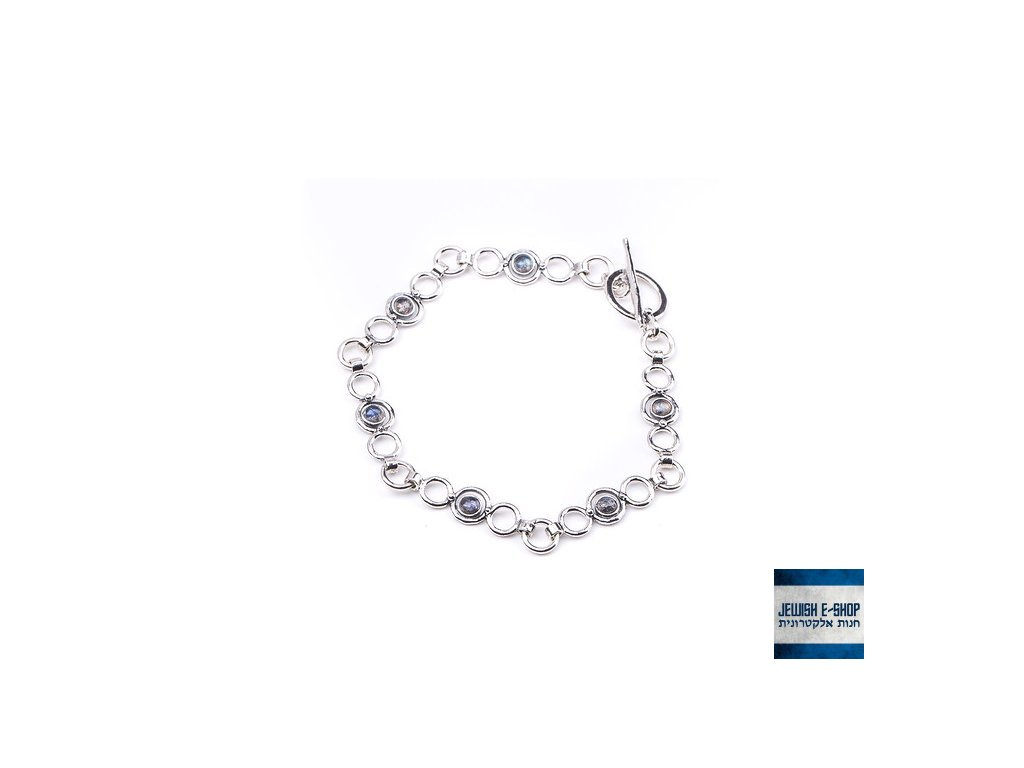 Izraelský stříbrný náramek s labradority Ag 925/1000