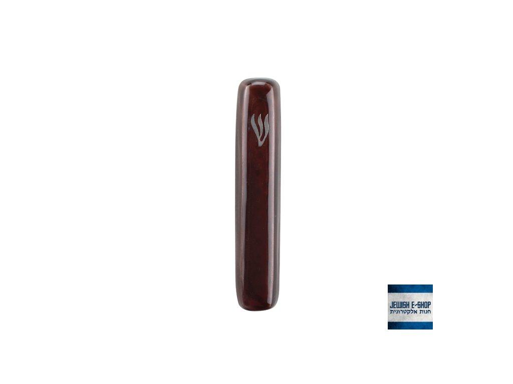 Hliníková mezuza z Izraele, hnědá, 7 cm