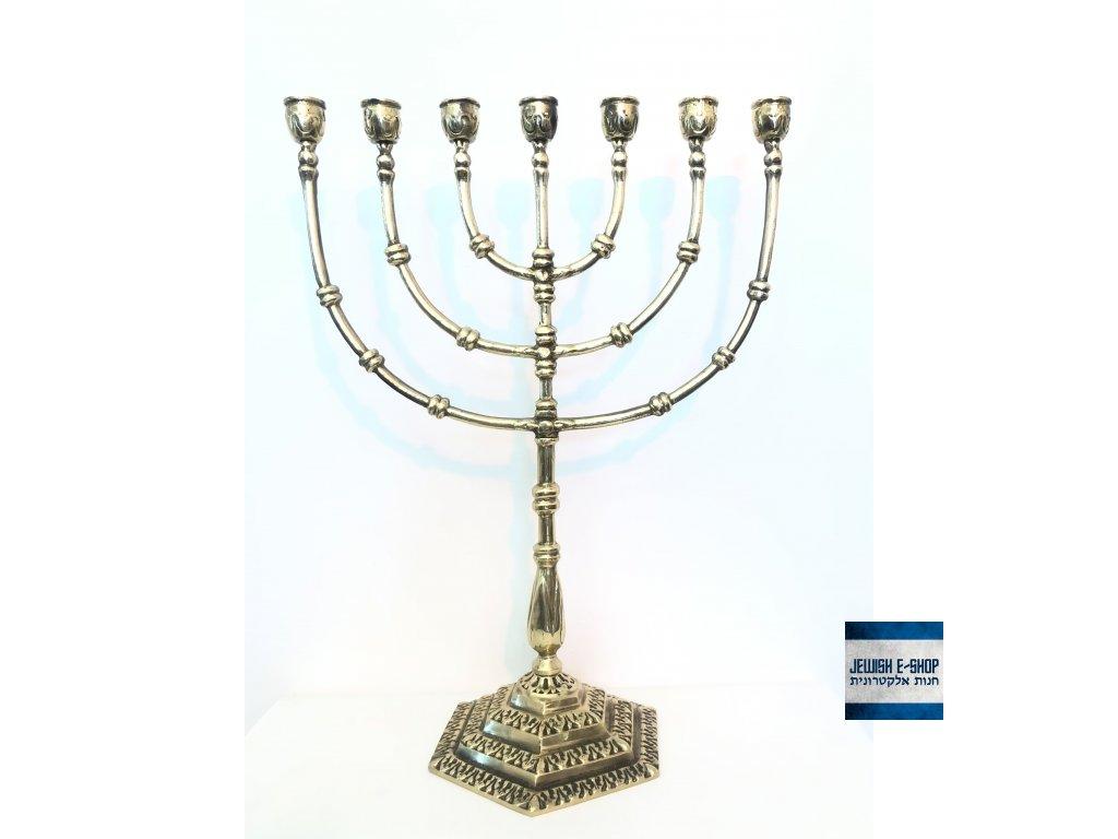 Menora BIG - obrovský židovský masivní svícen 41 cm vysoký