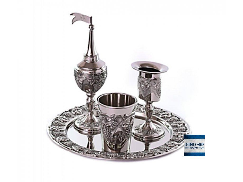 Silver Plated Grape Design 4Piece Havdalah Set+85 13822 920x800