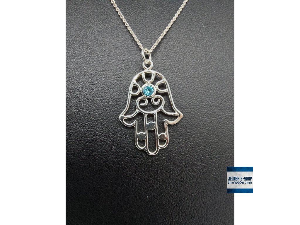 Chamsa se světle modrým zirkonem - stříbrná Ag 925/1000 - JEWISHOP design