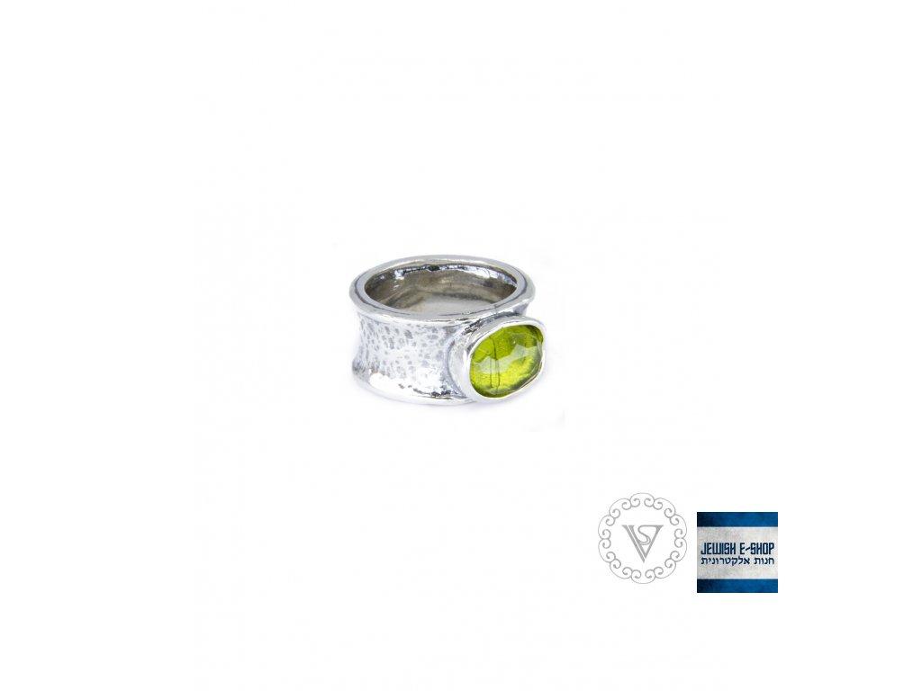 Stříbrný prsten s peridotem - Velikost 7