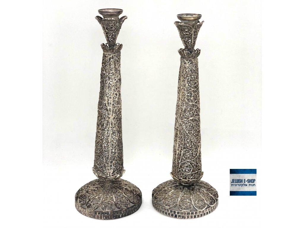 Staré filigránové stříbrné šabatové svícny