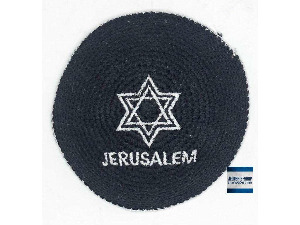 Háčkovaná jarmulka - Davidova hvězda stříbrná - JERUSALEM