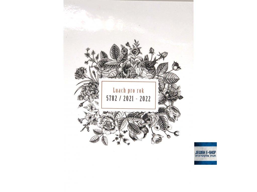 LUACH 5782 - Designový židovský diář pro rok 2021/22 - černé květiny