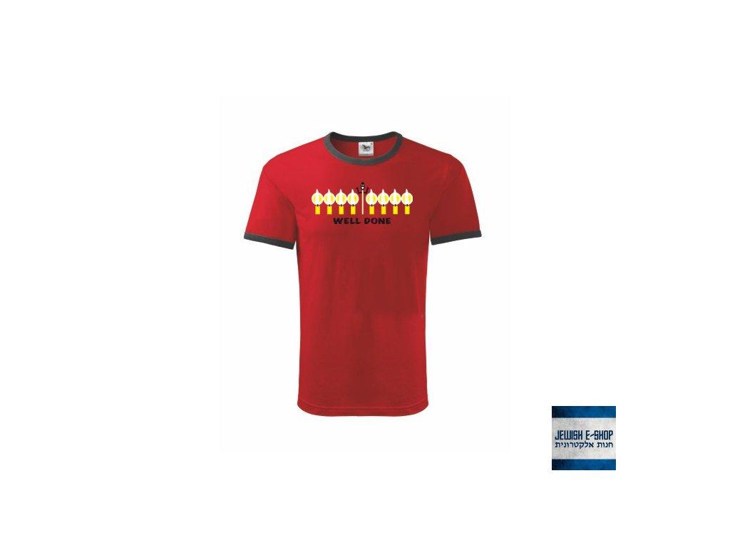 Tričko - Chanuka - WELL DONE - RED