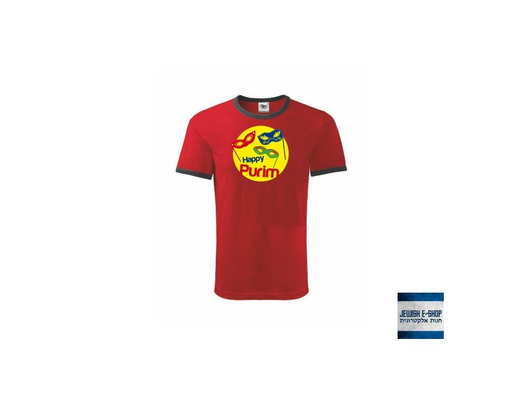 Tričko - Happy PURIM maska - Red