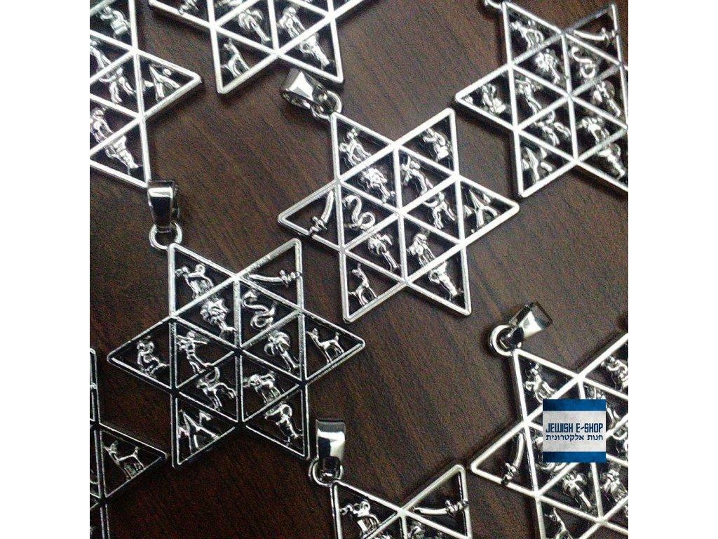 Židovská hvězda - Davidova hvězda symboly dvanácti kmenů izraelských 5678b43767