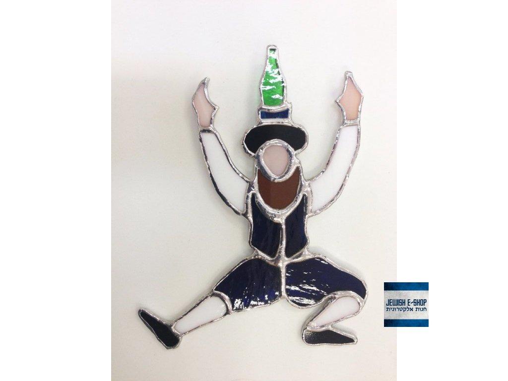 Chasid - závěsná vitráž - láhev na hlavě