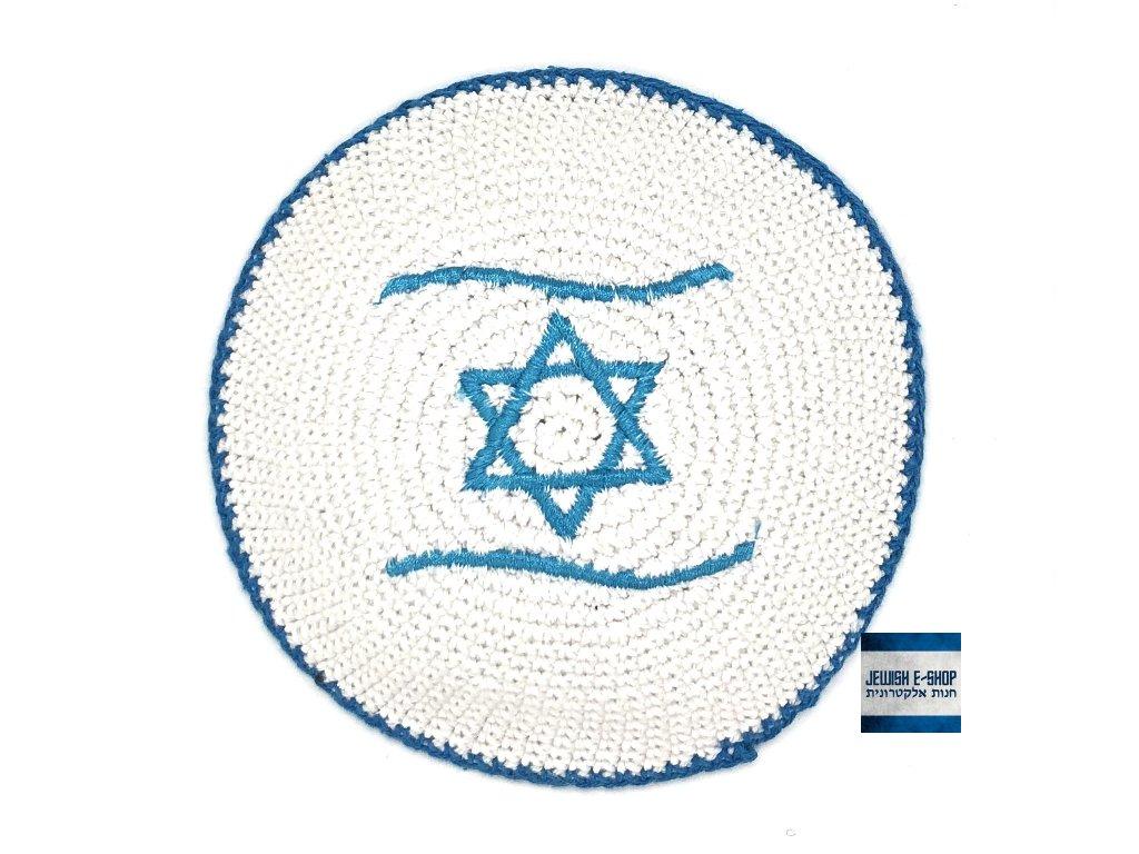 Jarmulka háčkovaná s izraelskou vlajkou - tyrkysová