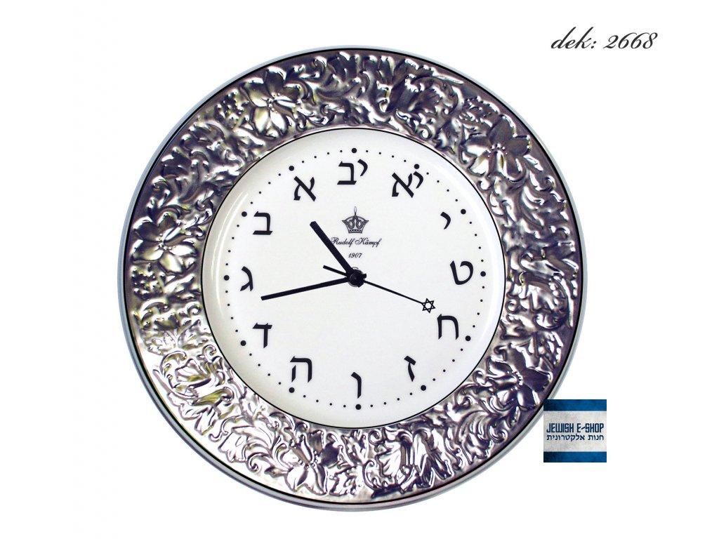 Hebrejské hodiny reliéfní se zpětných chodem PLATINA