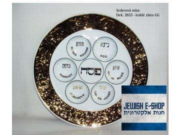 Seder - Sederová mísa zdobená zlatem lesklá