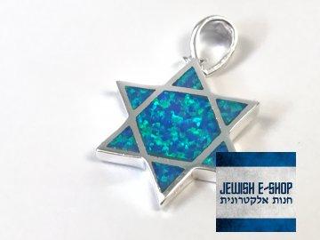 Stříbrný opálový přívěsek Davidova hvězda z Izraele, Ag925/1000, Made in Israel