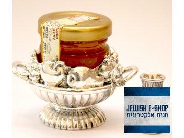 Stříbrná sada 925/1000 na Roš Hašana + Izraelský kosher med