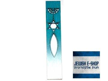 Dřevěná záložka do knížky modro-bílá - 8 cm
